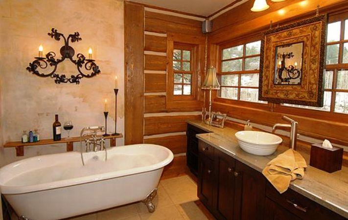 деревенский стиль дизйна ванной комнаты