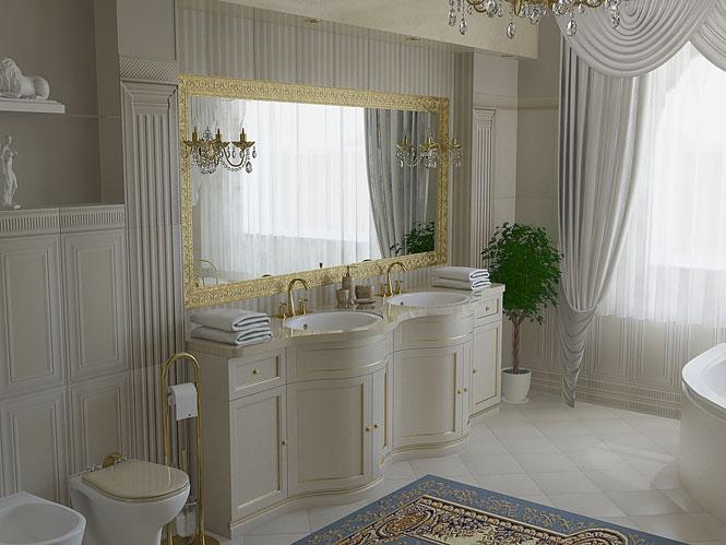 Классический стиль интерьера ванной комнаты