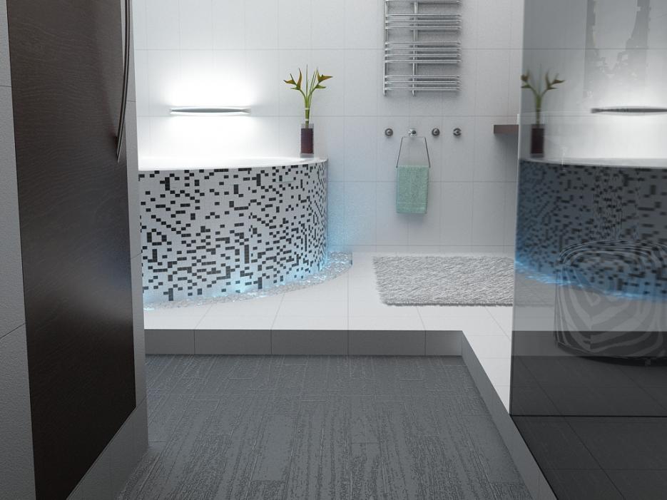 дизайн туалета в стиле hi-tech