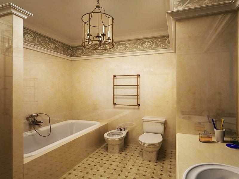 дизайн туалета в стиле классика